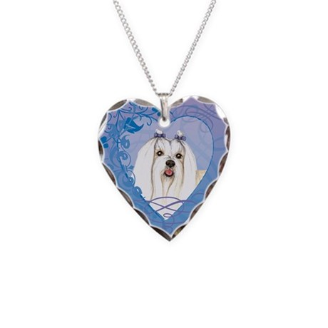 Maltese Necklace Heart Charm