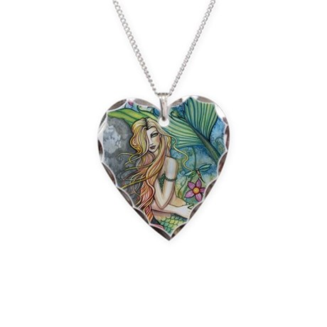Colorful Mermaid Necklace Heart Charm