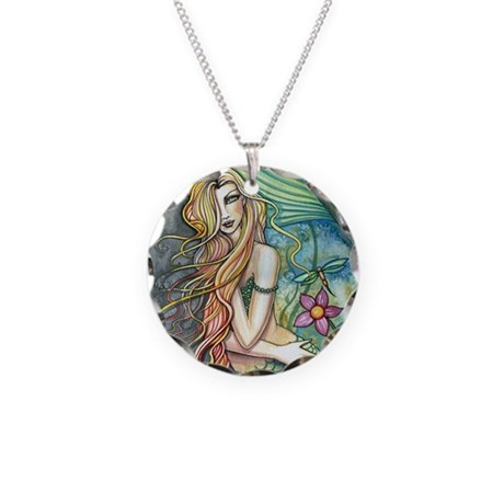 Colorful Mermaid Necklace Circle Charm