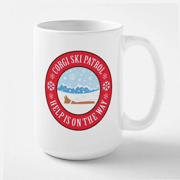 Corgi Ski Patrol Large Mug