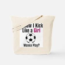 Cute Woman soccer Tote Bag
