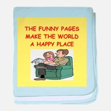 the funny pages baby blanket