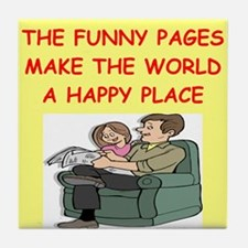 the funny pages Tile Coaster