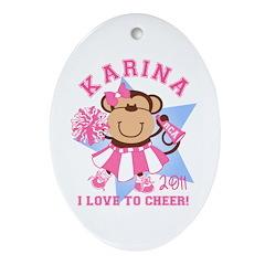 Monkey Cheerleader Walker Ornament (Oval)