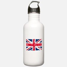 UK Flag Distressed Sports Water Bottle