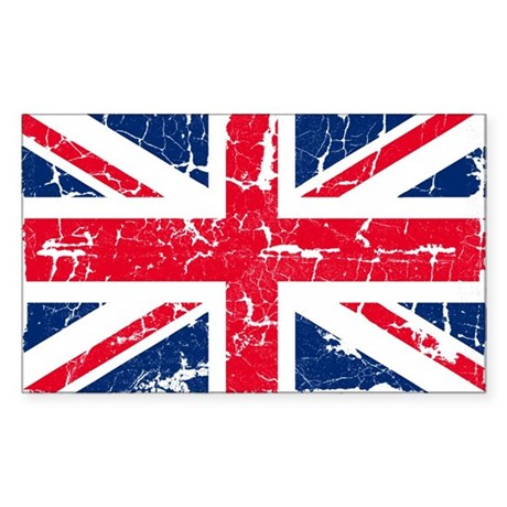 UK Flag Distressed Sticker (Rectangle)