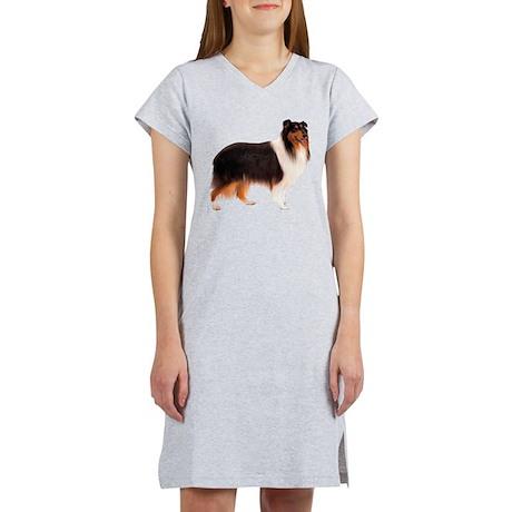 Black Rough Collie Women's Nightshirt