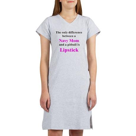 Navy Mom Pitbull Lipstick Women's Nightshirt