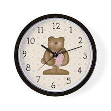 Heart In Hand Bear Wall Clock