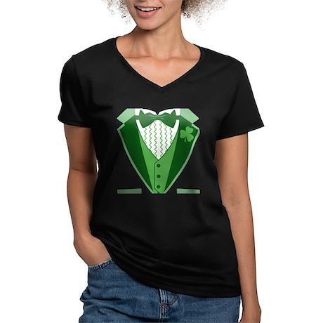 Funny Irish Tuxedo Women's V-Neck Dark T-Shirt