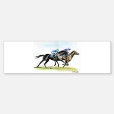 Horse race watercolor Bumper Bumper Sticker