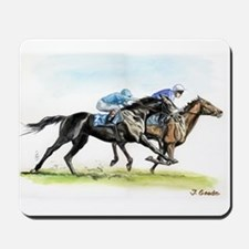 Horse race watercolor Mousepad