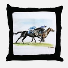 Horse race watercolor Throw Pillow