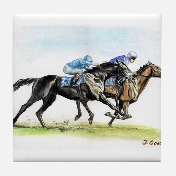 Horse race watercolor Tile Coaster