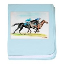 Horse race watercolor baby blanket