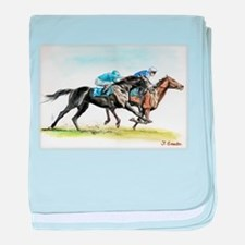 Horse race watercolor baby blanket