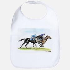 Horse race watercolor Bib