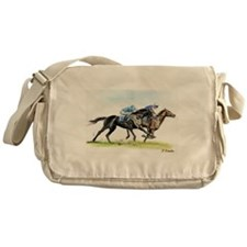 Horse race watercolor Messenger Bag