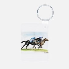 Horse race watercolor Keychains