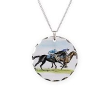 Horse race watercolor Necklace