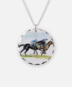 Horse race watercolor Necklace