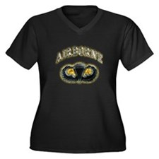 US Army Airborne Wings Women's Plus Size V-Neck Da