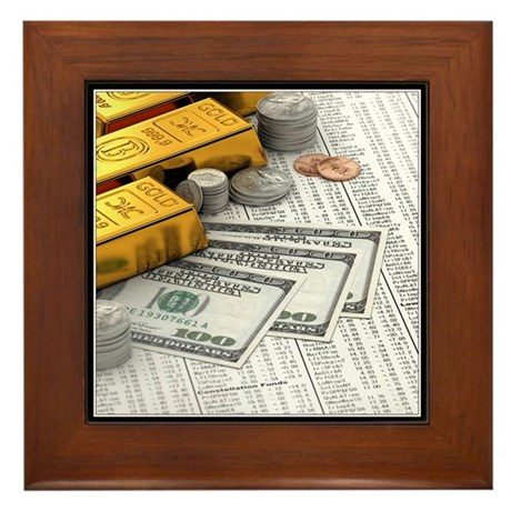 Stocks and currency Framed Tile