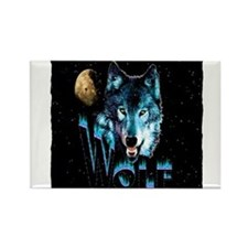 angry wolf Rectangle Magnet