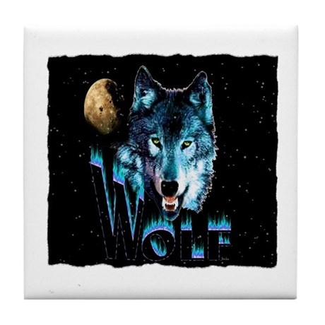 angry wolf Tile Coaster