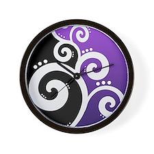 Elegant Swirls Purple Wall Clock