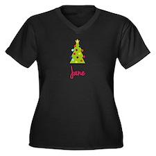 Christmas Tree Jane Women's Plus Size V-Neck Dark
