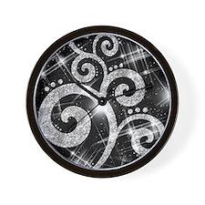 silver Glitter Swirl Wall Clock