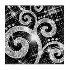 silver Glitter Swirl Tile Coaster