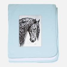 Frisian horse drawing baby blanket