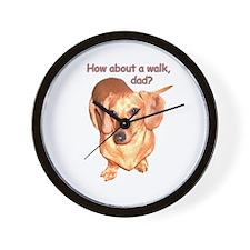 Dad Walk Dachshund Dog Wall Clock
