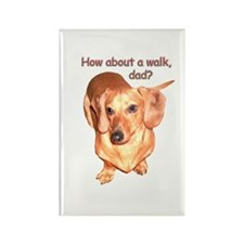 Dad Walk Dachshund Dog Rectangle Magnet