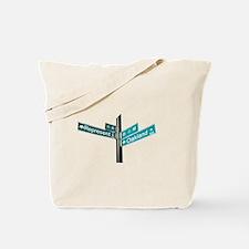 Corner of Represent and Oakla Tote Bag
