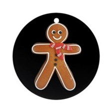Gingerbread_Man_Black_Ornament (Round)