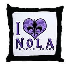 NOLA Purple Heart Throw Pillow