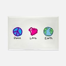 Peace Love and Earth Rectangle Magnet