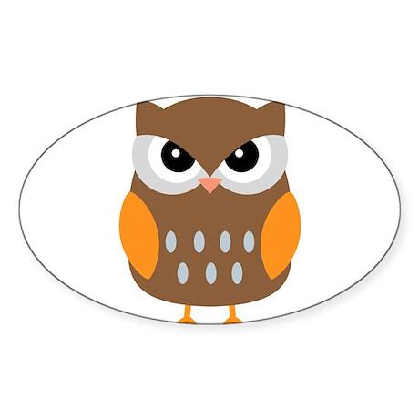 Cute Owl Sticker (Oval)