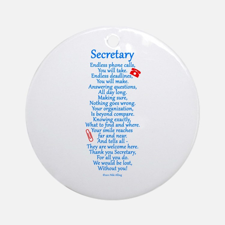 Secretary Thank You Ornament (Round)