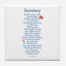 Secretary Thank You Tile Coaster