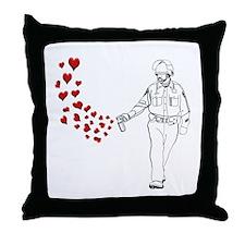 Casual Pepper Spray Cop Throw Pillow