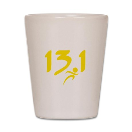 Yellow 13.1 half-marathon Shot Glass