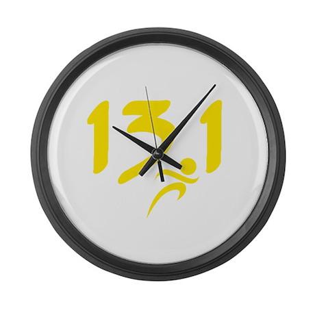 Yellow 13.1 half-marathon Large Wall Clock