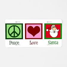 Peace Love Santa Aluminum License Plate