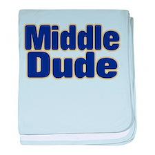 MIDDLE DUDE (dark blue) baby blanket