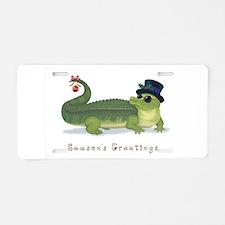 Christmas Alligator Aluminum License Plate