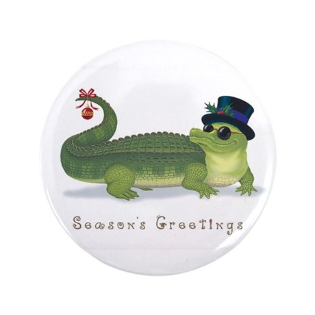 "Christmas Alligator 3.5"" Button"